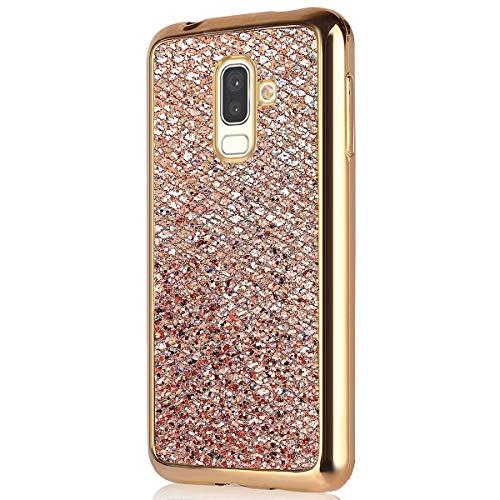 Herbests Kompatibel mit Samsung Galaxy J8 2018 Hülle Glitzer Bling Sparkle Kristall Glänzend Strass Diamant Schutzhülle Mädchen Frau Weich TPU Silikon Schutzhülle Handyhülle Handytasche,Gold