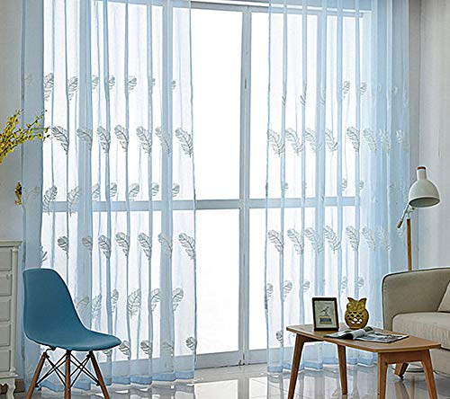 Sliding Top-panels (BW0057 Sheer Curtain Panel Embroidery Rod Pocket Top for Living Room Kichen (1 Panel W 50 x L 102,inch))