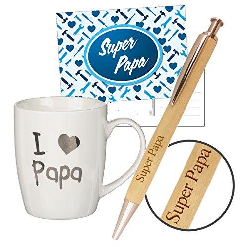 3-teiliges Geschenkset 'Papa' / Karte/Tasse 'I Love Papa' / Kulli/Vatertag / Geburtstag/Mama