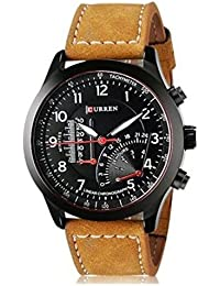 PIEX-25 Special Black Round Shapped Dial Brown Leather Strap Party Wedding | Casual Watch | Formal Watch | Sport...
