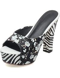 GLTER Mujeres Peep Toe Pump Verano Elegante Mulas Impresas Frescas Sandalias de Cebra Rayas de tacón