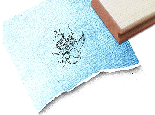 Stempel - Kinderstempel MEERJUNGFRAU Nixe (klein) Motivstempel Bildstempel Geschenk für Kinder Geburtstag Einschulung - zAcheR-fineT