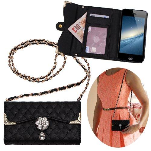 """Xtra-Funky Esclusivo Lusso Faux Custodia in pelle trapuntata borsa della borsa di stile con la cinghia da trasporto e splendidamente decorate fiore di cristallo per iPhone 6 Plus (5.5"""") - Nero (include un mini stilo e schermo LCD PELLICOLA)"""