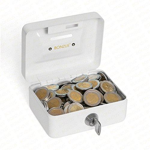 Mini cassaforte Cassetta di sicurezza BZ-17 della Bonzus® Piccola cassaforte con fessura di inserimento (bianco - grigio)