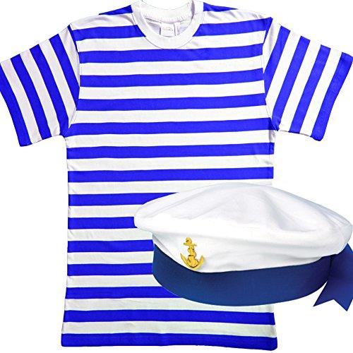 Imagen de set de disfraz de hombre de 2 piezas de marinero para hombre.