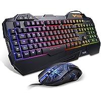 HAVIT Gaming Tastatur und Maus Set, LED Hintergrundbeleuchtung QWERTZ (DE-Layout), 7 Tasten Gaming Maus mit 7 LEDs als Beleuchtung (800 / 1200 / 2400 / 3200 DPI einstellbar) (Schwarz)