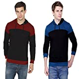 Fabstone Collection Combo of 2 Blue & Maroon Full Sleeve Cotton Casual Hooded tshirt For Men