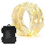 String Lights Battery Operated 3M 30LED, Oak Leaf Waterproof battery powered Fairy Light, Silver Wire Starry Christmas Light, 8 Lighting Modes + Timer for Indoor Outdoor Bedroom DIY Bottle Light Wedding Decoration Warm White