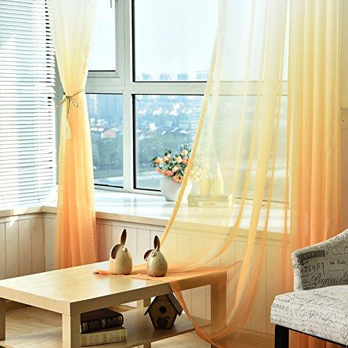 Tende jincome velate, dal colore sfumato, 100x 270cm yellow