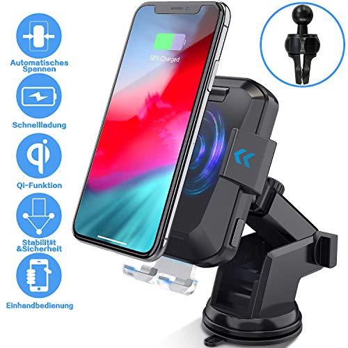 HiGoing Kabellose Auto Ladegeräte, 2 in 1 Qi 10W Schnellladung Automatisches Spannen KFZ Drahtloses Ladegerät Handyhalterung mit Auto Lüftung, Windschutzscheibe für Samsung iPhone und alle Qi Geräte