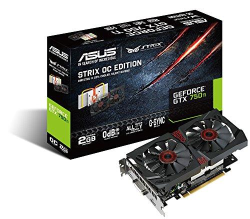 Asus STRIX-GTX750TI-OC-2GD5 Grafikkarte (PCI-e 3.0 x16, 2GB GDDR5 Speicher, DVI, HDMI, DisplayPort, 1 GPU) (Geforce Nvidia Gtx750ti)