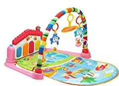 Idea Regalo - SURREAL (SM) 3 in 1 Pianoforte per bambini PlayMat Musica e luci - rosa…