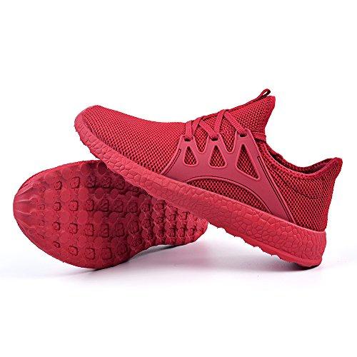 QANSI Uomo Scarpe Confortevoli da Corsa Sneakers Sportivi Leggeri Scarpe da Ginnastica Rosso