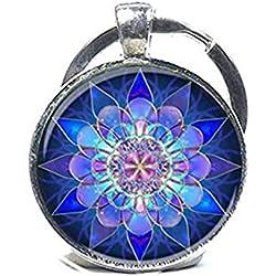 Llavero, diseño de Mandala, Mandala Arte Llavero relajante azul Mandala, Yoga llavero joyas