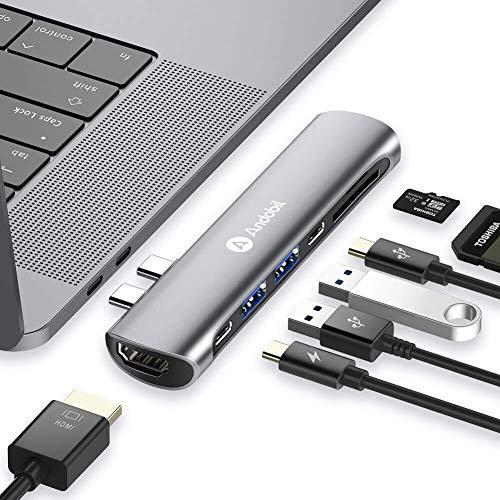 """andobil USB C Hub, USB C Adapter Speziell für Mac, für MacBook Air 2018 13"""", MacBook Pro 2018/2017/2016 13""""&15"""", mit Thunderbolt 3 Port,4K HDMI, Type C und USB 3.0 Ports, SD/TF Kartenleser,Spacegrau"""
