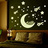 Hexawata PVC Fluorescent Glow Moon Stars Wall Stickers Removable Art Wall Decoration For Home Dorm Living Room
