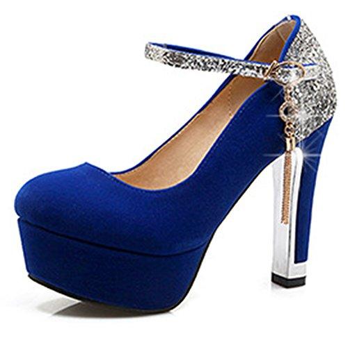 Aisun Damen Sexy Plateau Pailletten Metall Troddel Schnalle Trichterabsatz Pumps Blau