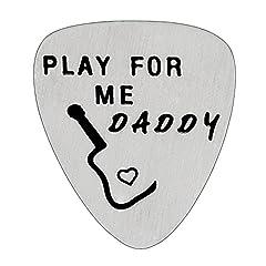 Idea Regalo - Play for Me Daddy plettro per regali del papà Dad Papa from Daughter Son ciondolo in acciaio INOX per gli uomini