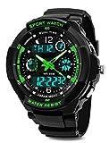 garçons montre numérique, étanche enfants montres avec 12/24 heures/alarme/chronomètre, enfants Sports de plein air analogique Montres bracelet pour garçon junior Vert