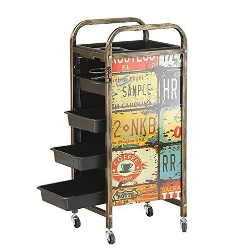 2018 5-Tiers Retro Friseurwagen Salon Barbier Wagen Tablett Lagerung Wagen Haar Rollwagen Trolley mit 4 Schubladen Haartrockner Halter - 5 Schublade Storage Cart