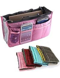 Yihya Mujer Travel Viajar Organizador Organizadores Bolsos con Insertar Forro Tidy Múltiples Bolsillos Bolsa Mejor Diseño de Cosmética Monedero Purse Handbag --- Rosa