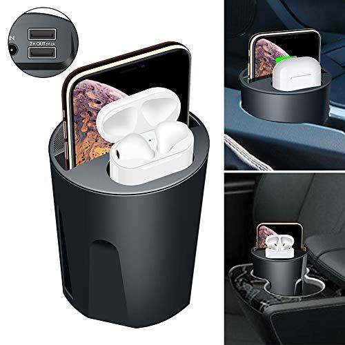 Hook.s X9A 5/7/7/10 W Caricatore per Auto Wireless Quattro in Uno Tazza Acqua, Ricarica Qi Dual USB Compatibile per Apple Samsung Airpods XS Max/XR/X / 8 Plus per Airpods 2 Galaxy