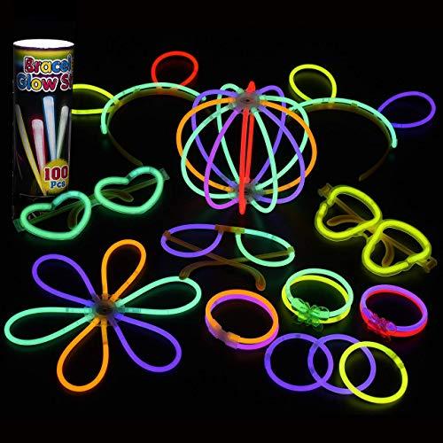 Mpow 100 PCS Varitas Luminosas para Fiestas, 20cm Pluseras Fluorescentes con 7 Colores, Palos Luminosos para Crear Gafas, Pulseras, Collares, Pulseras Triples, Diadema, Flores y Bolas,etc