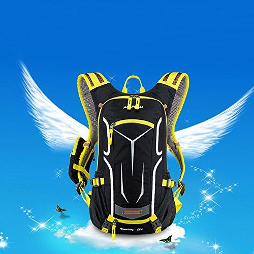 rebuty 18L Wasserdicht Atmungsaktiv Fahrrad Schulter Rucksack Ultralight Outdoor Sport Reiten Reise Bergsteigen Hydration Wasser Tasche mit Regen Schutz Kappe Gelb