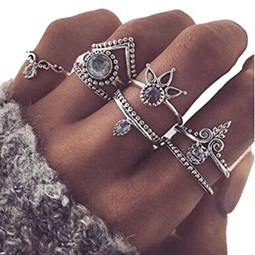 Chinget 8Pcs Weinlese Kristall Legierung Geschnitzt Finger Ring Geometrisch Hollow Knuckle Rings Damen Schmuck Zubehör (Silber)