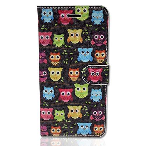 Handy Tasche Case book für Apple iPhone 5 Schutzhülle Hülle Etui Eule schwarz