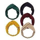 PassMe 5 Pezzi Fascia per Cappelli Donna Ragazza Boemia Floreale Elastico Wrap Testa Turbante Cerchietto Copricapo Accessori per Capelli (Stile 5)