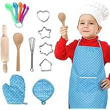 Bascolor Chef Costume Bambino Chef Gioco Accessori Travestimento Capocuoco  Costume di Ruolo Bambini per Natale Halloween 9130796f401c