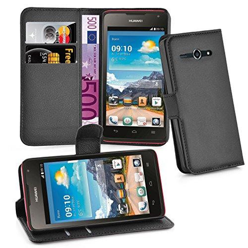 Cadorabo Hülle für Huawei Ascend Y530 Hülle in Phantom schwarz Handyhülle mit Kartenfach & Standfunktion Case Cover Schutzhülle Etui Tasche Book Klapp Style Phantom-Schwarz