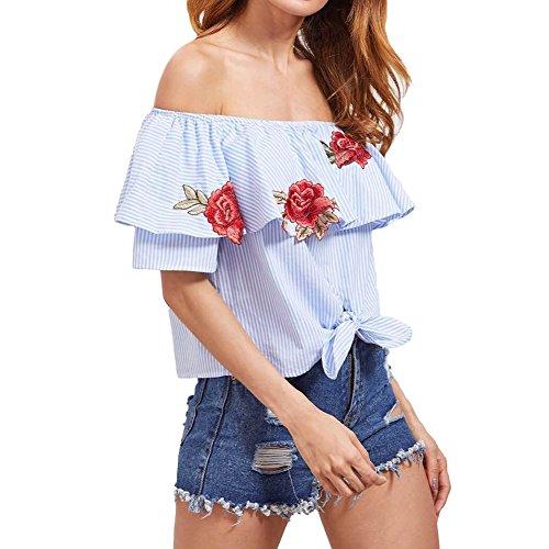 West See Damen Schulterfrei Shirt Stickerei Sommer Bluse Mode Frauen reizvolle weg Schulter-Rose-Stickerei Muster-Spitze Kurzarm Bluse gestreifte Tops Blau Blau