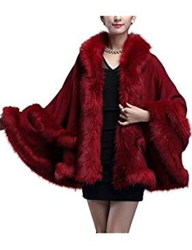 FOLOBE Mujeres Faux Fox Fur Cape Coat Chaqueta nupcial con capucha su¨¦ter 2018