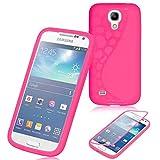 JAMMYLIZARD Hülle für Samsung Galaxy S4 Mini   Silikonhülle 360 Grad Schutzhülle Silikon Case Backcover Hülle und Displayschutz Flip Cover Komplett-Handyhülle, Pink
