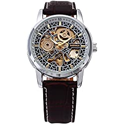 AMPM24 Classic Mens Automatic Mechanical Watch Black Leather Strap Skeleton Wrist Watches + AMPM24 Gift Box PMW074