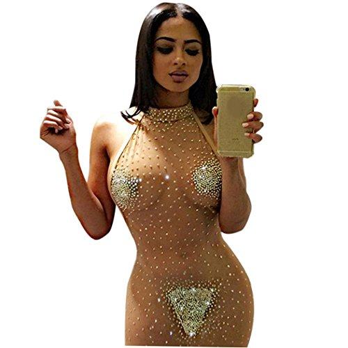 cooshional Damen Kleider Party Sexy Transparent Durchsichtig Rückenfrei Mini nude EU 38/Asian L (Sexy Kleid Dame)