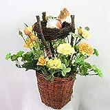 ZTTLOL Jarown Plantas Envasadas Paisagem Simulação Künstliche Rose Flores Ninho De Pássaro Pássaro para Eine Dekorations-Da Flor Do Casamento Partido Home Decor