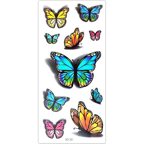 EROSPA® Tattoo-Bogen temporär - 3D Schmetterlinge / Butterfly - 10 x 17 cm