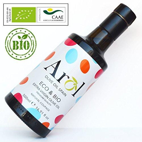 Aceite de Oliva Virgen Extra ECO&BIO 500 ml - Certificado Ecológico Europeo - 100{b1ce9da99b93a534a992773df93f1dde8c706dbb312f93a5fc69231cbe513431} Orgánico, Sin Componentes Químicos - Producción Limitada - Sabor Suave - Extracción en Frío - Arol