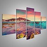 islandburner Bild Bilder auf Leinwand XXL Bild Poster Leinwandbild Wandbilder Kunstdruck 5-teilig BCZ Meer Himmel Atmosphäre