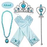 Alead Princess Dress Up Elsa Bleu 4 Pièces Diadème,Baguette Magique,Gants,Baguette,Collier