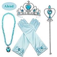 Alead Prinzessin Verkleiden Sich Elsa Blau 4 Stück Geschenk-Set Diadem,Handschuhe,Zauberstab,Halskette