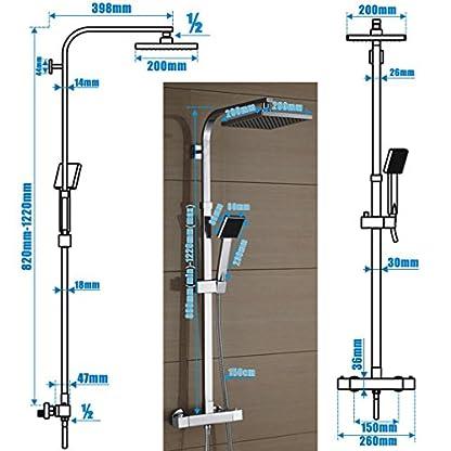 51IbkMFkdmL. SS416  - Auralum® Sistema de Ducha Columna de Ducha Cuadrada con Grifería Termostática
