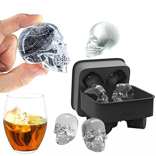 E-CHENG 3D Skull Silicone Ice Cube Mold Trays, BPA Free 4 Giant Skulls Ice Cube Chocolate Candy Mold Tray for Chilling Bourbon, Whiskey, Cocktail, Beverages, Juice and More, Pack of 1 Ice Cube Mold Tray