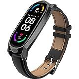 AHANGA voor Xiaomi Mi Band 6 Lederen Bandje, Echt Leer MiBand 5 Bandjes Polsband Armband Horlogeband met Veilige Metalen Gesp