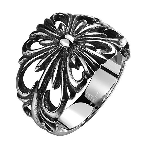 cf45dc7cfea TIDOO Jewelry Punk Series Mens Vintage Gothic Biker Ring Chrome Hearts  Style Silk Knot Antique Black