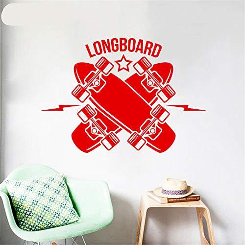 alicefen Wandtattoo Longboard Skateboard Vinyl Wandaufkleber Junge Modernes Design Schlafzimmer Art Deco Wandmalerei Rot 81 * 57 cm -