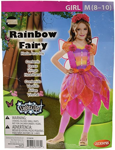 Rainbow Fairy Pink Orange Light-Up Child Costume Wings Headband 8-10 NIP